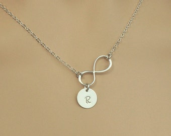 Initial Jewlery, Personalized Infinity Necklace, Monogram Disc Necklace, Silver Infinity, Bridal Gift, Everyday Jewelry,Gift for Girfriend