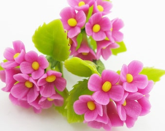 Miniature Polymer Clay Flowers Supplies for Dollhouse Magenta Hydrangea 3 bunches