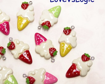 4 Ice Cream Cone with Strawberry Lucite Charms. Mix Colors