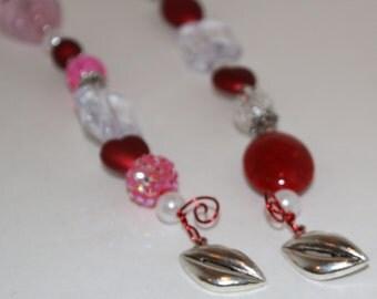 Wire Wrap Wine Glass Charms Sealed with a Kiss Valentine's Day, Wedding