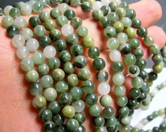 Green line quartz - 6 mm round beads -1 full strand - 65 beads - A quality - RFG177