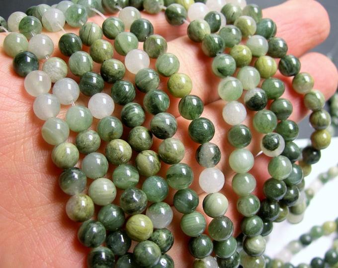 Green line quartz - 6 mm round beads -1 full strand - 65 beads - A quality - RFG177