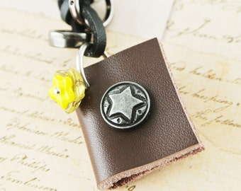 Brown Leather Journal Necklace,Mini Book Necklace, Book Pendant Jewelry,Miniature Book Necklace