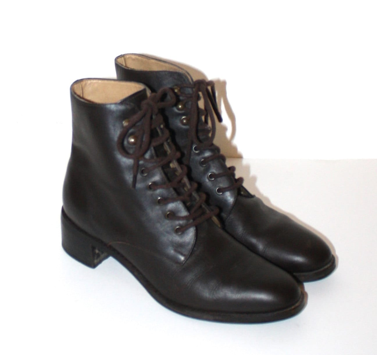 vintage brown leather lace up boots ipanema leather