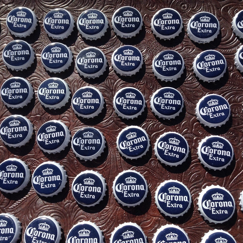 70 used beer bottle caps tops corona extra