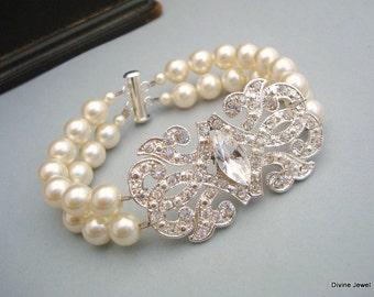 Pearl Bridal Bracelet Bridal Rhinestone Bracelet Ivory swarovski Pearls Statement Bridal Bracelet Wedding Rhinestone Bracelet EDWINA