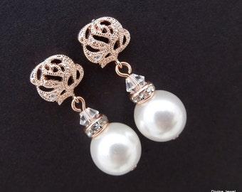 Rose Gold Pearl Bridal Earrings, White Swarovski Pearl, Bridal Rhinestone Earrings, Bridal Stud Earrings, Pearl Rhinestone Earrings, BAILEY