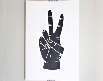 Peace Sign Large Silk-Screened Print