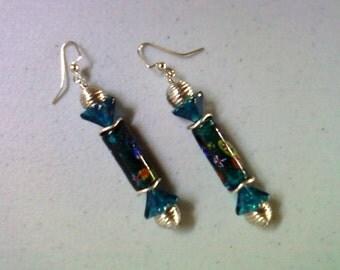 Teal Blue Millefiori Earrings (1296)