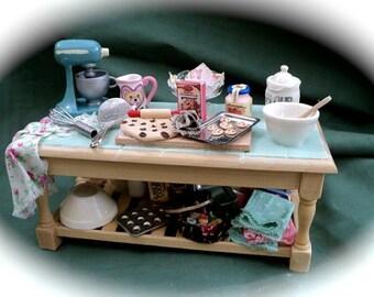 Dolls House Miniatures - 1/12th Sweet Nostalgia Cooking / Baking Table