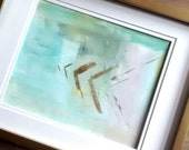 Original Acrylic painting   Abstract  Fine Art Modern Contemporary Art   lavender turquoise green gold Arrows