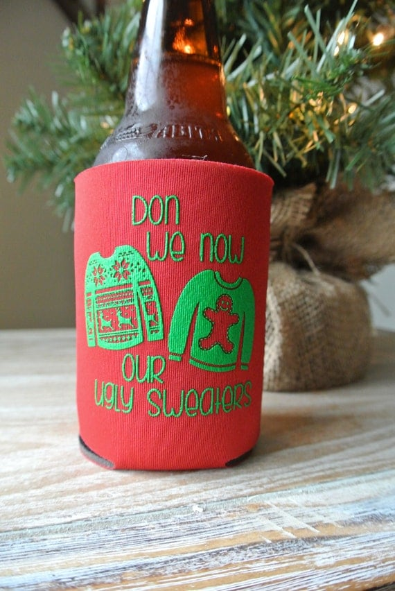Ugly Sweater Christmas Party Can Coolers - Tacky Christmas Party Favors, Xmas