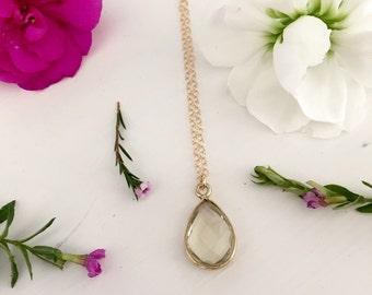Lemon Quartz teardrop necklace/ Dainty Lemon Quartz pendant necklace / bridesmaid/ bridal jewelry/ bridesmaid gift