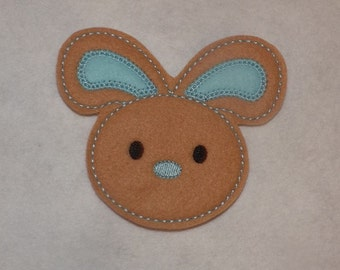 Extra Large 4 X 3 1/2 Machine Embroidered Hand made  Felt Bunny Embellishment / applique