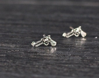 Tiny pistol earrings Sterling silver pistol stud earrings Antique silver gun studs pistol post earrings Dainty simple everyday jewelry