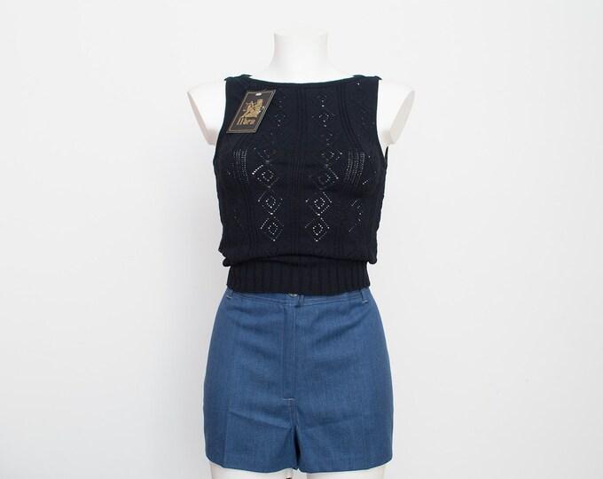 NOS vintage black knit top sweater see throug pattern