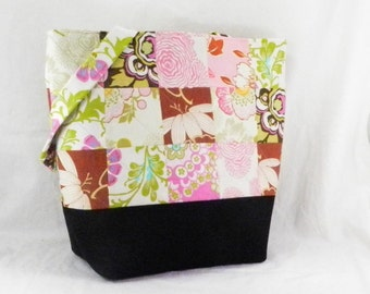 Patchwork Tote, Amy Butler, Lotus Fabric, Quilted Book Bag, Teacher's Bag, Large Purse, Carry All