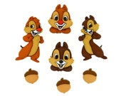 Chip & Dale Buttons Disney Licensed Character Novelty Shank Button Set Sewing Crafts