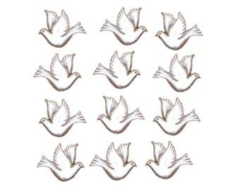 Jesse James Buttons Wedding Doves White Birds Button Embellishments