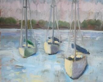 Original Contemporary Oil Painting Sailboats