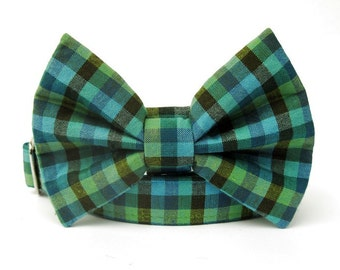 Teal Blue and Lime Green Gingham Bow Tie Dog Collar with Nickel Plate Hardware