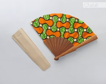 Wax print Hand fan with case | Ankara hand fan | Mother's Day gift | Pistaccio & Orange