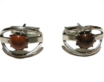 Mid century cuff links  men's silver tone glass Vintage Groom present