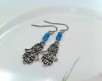 Fashionable Intricate Filigree Antiqued Silver Look CHAMSA Hand Charm Earrings Hint of Blue Glass Bead Bat Mitzvah Youthful Feminine Jewelry
