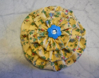Fabric Flower Pin, Flower Brooch, Flower Accessory, in Yellow Print with Blue Button, Flower Fashion
