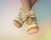Baby Girl Shoes Toddler Girl Shoes Soft Sole Shoes Infant Shoes Spring Shoes Summer Shoes Rainbow Shoes Striped Shoes Bow Shoes- Nova