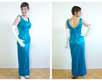 1950s Green and Blue Satin Evening Gown- 4, Bombshell, Diva, Alternative Wedding Dress, Bridesemaid