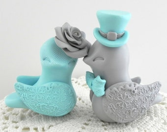 Love Birds Wedding Cake Topper, Aqua and Grey, Bride and Groom Keepsake, Fully Customizable