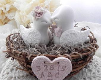Rustic Love Bird Wedding Cake Topper, White, Dusty Pink, Beige, Love Birds in Nest , Personalized Heart