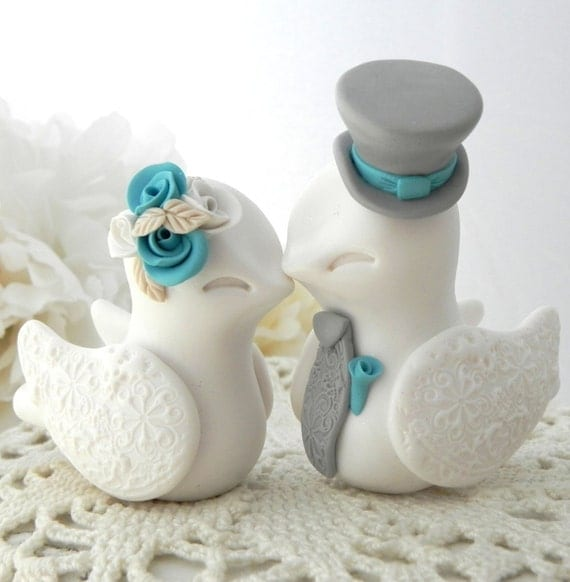 blue love birds wedding cake topper birds wedding cake topper white turquoise and grey 11994
