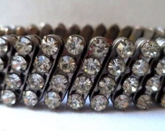 Sparkle Rhinestones White Diamond Clear Expandable bangle bracelet cuff 60s Authentic True Vintage Jewelry artedellamoda Silver Mint VGC wow