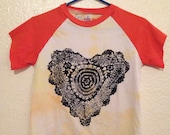 Black Heart, Upcycled top, hand printed