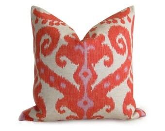 Ikat Designer Linen Pillow Cover - Orange Red Coral - 16 inch - Zipper Enclosure - Decorative Pillow - Throw Pillow - Orange Pillow