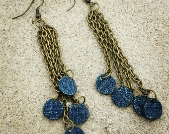 Denim Earrings- Tiered Denim Chain