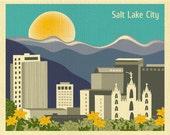 Salt Lake City Print, Salt Lake City Skyline, Utah Art Print, LDS Temple Wall Art, Salt Lake City  Horizontal Art Gift - style E8-O-SA