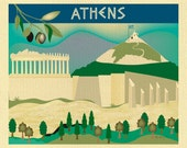 Athens Skyline Art Print, Greece Travel Poster, Athen Wall Art, Athens horizontal art, Greek Nursery, Loose Petals City Art - style E8-O-ATH