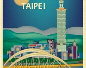 Taipei Skyline Print, Taiwan Vertical Print, Taipei Travel Art Print, Taipei Office Print, Taipei Map, Taipei Poster Print, style E8-O-TAI