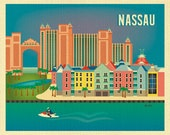 Nassau, Bahamas Print, Retro Caribbean Art,  Bahamas  Travel Wall Art, Nassau Horizontal Print, Nassau Gift, Travel Map Art - style E8-O-NAS