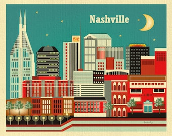 Nashville Skyline Art Print, Nashville Wall Art, Nashville Tennesse Artwork, Nashville city art print, Loose Petals Nashville, Style E8-O-NA