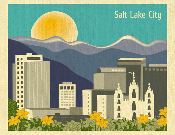 Salt Lake City Print, Salt Lake City Skyline, Utah Art Print, LDS Temple Wall Art, Salt Lake City  Horizontal Art Gift - style E8-O-SA