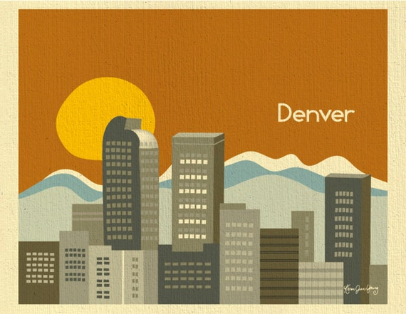 Denver Skyline Art Print, Colorado Poster, Denver Rocky Mountain Art Print, Horizontal Travel Art, Loose Petals City Art - style -  E8-O-DEN