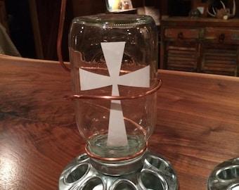 Mason Jar Bird Feeder with Cross