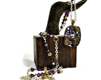 OOAK Steampunk Necklace with Vintage Watch Parts, Swarovski Purple Crystals and Silver Chain