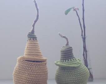 Sale - The Pod Family Baskets in yellow and apple green - set of two small baskets - 30% off - Christmas in July Sale
