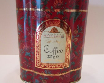 Marks and Spencer Penny Bazaar Vintage Decorative Coffee Tin - Baker St. London - Chintz Design Red Floral