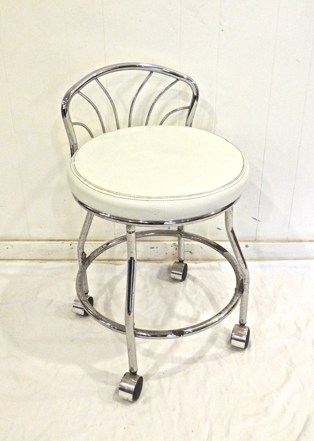 Vintage Chrome Vanity Stool 1970s Mid Century White By Mkmack